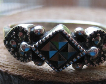 Vintage Sterling Silver Size 6 1/2 Sparkling Marcasite Ring for Women Ladies