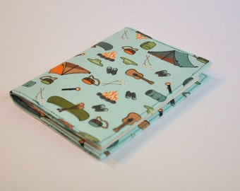 Passport Cover Sleeve holder  - camping  Fabric - tents, guitars, campfire, canteen, flashlights and sleeping bags
