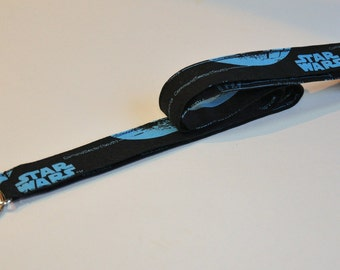 Star Wars Fabric Lanyard ID Badge Holder - Teacher lanyard - Geek lanyard - Breakaway safety clasp optional - Blue on Black Schematics