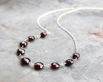 Coin Garnet Necklace Sterling Silver Wire Wrapped Dark Red Stone Strand Necklace January Birthstone