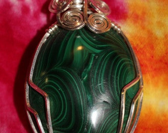 Malachite and Sterling Silver Pendant