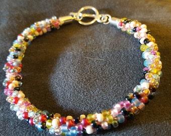 Japanese beaded cord bracelet, LARGE SIZE, Spring Colors, Kumihimo Bracelet,  woven beaded bracelet, Miyuki seed beeds