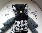Fred Starsky   Owl , soft art  creature  toy by  Wassupbrothers, textile doll, reycled retro, home decor, unique, monochrome , gray, grey