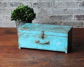 Vintage Ballot Box Indian Reclaimed Jodhpur Blue Chest Jewelry Box Small Trunk Farm Chic Industrial Storage