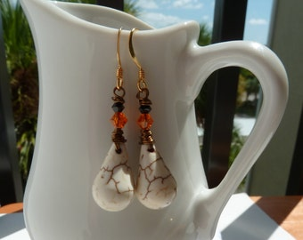 Skeleton Bone Tears Halloween Earrings White Magnesite & Swarovski Crystals