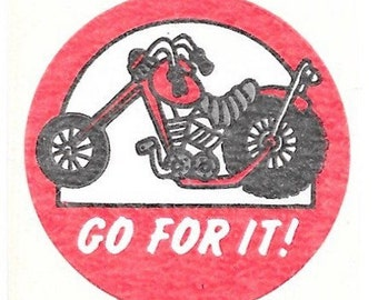 "Vintage 80's Trend Matte Motorcycle GAS ""Go For It"" Scratch and Sniff Sticker"