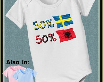short sleeve and long sleeve 50 Sweden 50 Albania nationality bodysuit with country flags Sweden baby infant baby bodysuit, baby shower gift