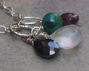 Moonstone and Chrysocolla Charm Pendant