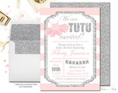 Girls Baby Shower Invitations, Tutu Baby Shower Invitations, Glitter Baby Shower Invite, Ballerina Baby Shower Invitations, Tutu Invite