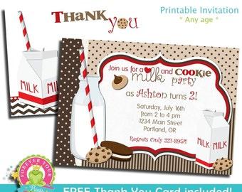 Milk and Cookies Invitation / Birthday Invitation / Milk and Cookies Party Invite / Milk and Cookies Birthday / Milk and Cookie Party