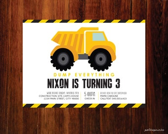 Construction Birthday Invite, Construction Birthday Invitation, Construction Birthday Party,  Bulldozer, dump truck, front loader, set of 20