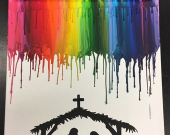 Nativity Crayon Art Painting