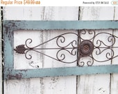 SUMMER SALE Wrought Iron  and Wood Decor / Duck Egg Blue/ Ornate Wrought Iron Decor / Shabby Chic / Bedroom Wall Decor / Kitchen Decor