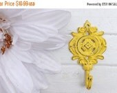 ON SALE Shabby Chic Wall Hook / Ornate Wall Hook / Yellow Wall Hook /French Country Wall Decor