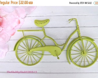 Bicycle Wall Art / Metal Bicycle / Lime Wall Decor / Shabby Chic Decor / Shabby Chic Decor