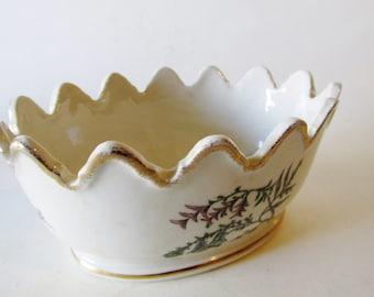 1950s Floral Cache Pot, Porcelain Planter, Lon Valley, Palm Beach Decor, Chinoiserie