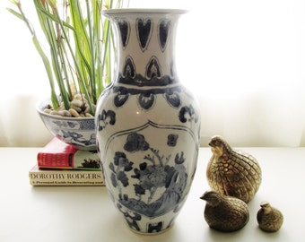 Tall Chinoiserie Blue and White Vase, Palm Beach Decor, Asian Decor, Chinoiserie, Hollywood Regency