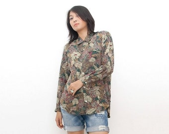 SUPER SALE ON Sale/Vintage 80s Shirt/80s Blouse/Oversized Olive Green Floral Long Sleeve Shirt, Large / Extra Large