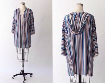 1970s Terry Cloth Hooded Pool Robe // Short Striped Vintage Swimsuit Cover-Up // One Size