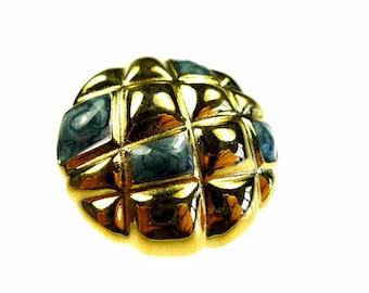 Enamel button, gold tone, 1 pc
