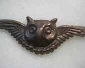 Vintage Winged Owl Head; Older Authentic Vintage Stamped Brass Owl, Patina, Classic Decoration, Embellishment, Finding, 44mm by 14mm, 1 Pc.