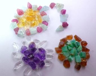 Healing Chakra Stone Set, Meditation Stones, Reiki ATTUNED Healing Crystals, Chakra Healing Kit. 7 pc. 7 gm. 9 - 12 mm RML56