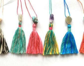 Natural Gemstone Guru Tassel Beads ENTIRE Set. Bohemian Handmade Mala & Tassel Supply. Gifts, Weddings, Bride's Maids. 6 pc. (TAS-set)