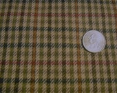 Vintage Wool  Houndstooth  check fabric ,camel red green and black