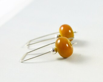 Simple Earrings, Drop Earrings, Modern Earrings, Mustard Earrings, Australian Jewellery, Simple Mustard Jewellery, FREE SHIPPING