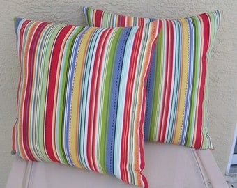 Outdoor Pillow Cover, 20 x 20 inches, multi-color stripe