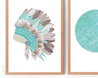 Headdress in Green Art Print (free Aus shipping)