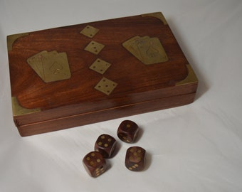 Vintage Wood Box for Double Deck of Cards With Four Wooden Dice – Brass Accents of Playing Cards and Dice on Cover Great Gift For Him