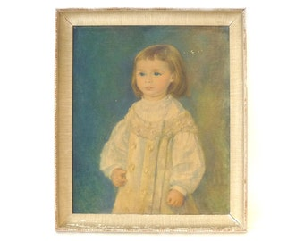Vintage Framed Print of Young Child ... Early 20th Century, Young Boy Portrait, Shabby Chic White Wood Frame, Print of Victorian Painting