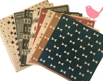 Scrap Pack - origami paper, 22 kraft papers with pattern front and back