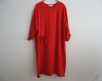 Valentine linen dress in crimson red ready to ship