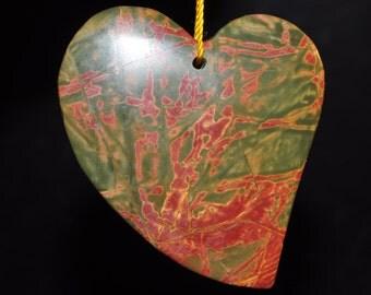 42x52x8mm Gorgeous-Red Cherry CREEK JASPER Large Heart Focal Pendant - J1005