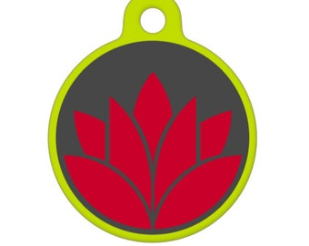 Pet ID Tag - Red Lotus Flower Pet Tag, Dog Tag, Cat Tag