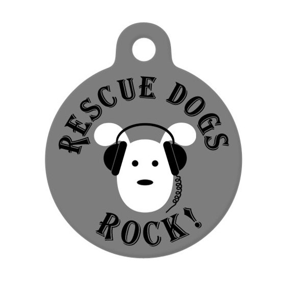 Pet ID Tag - Rescue Dogs Rock, Pup With Headphones Pet Tag, Dog tag, Luggage Tag