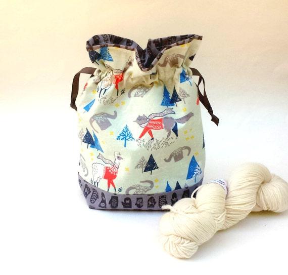 Knitting Crochet Project Bag, Medium Zipper or Drawstring, Cute Foxes Llamas Alpacas, Sweaters, Scarves Print fabric