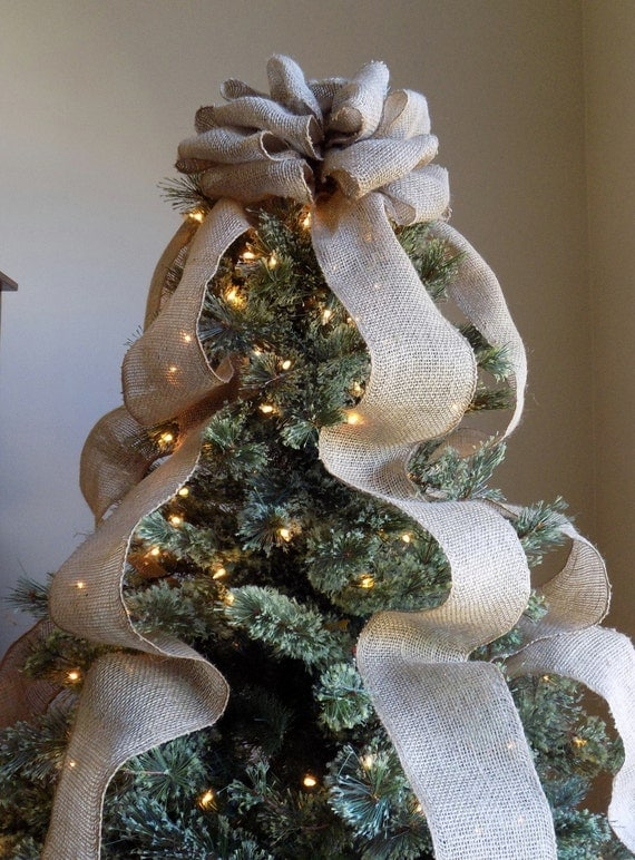 burlap christmas tree topper bow rustic topper shabby chic. Black Bedroom Furniture Sets. Home Design Ideas