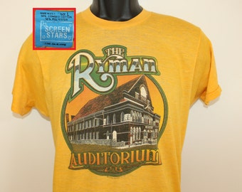 The Ryman Auditorium vintage t-shirt XS/S yellow 70s 1979 Screen Stars soft thin Nashville Tennessee