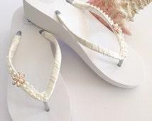 Bridal Flip Flops/Wedges.Wedding Flip Flops/sandals. Ivory Wedding Shoes.Bridal Shoes.Ivory Ribbon Flip Flops.Beach Wedding Accessories.
