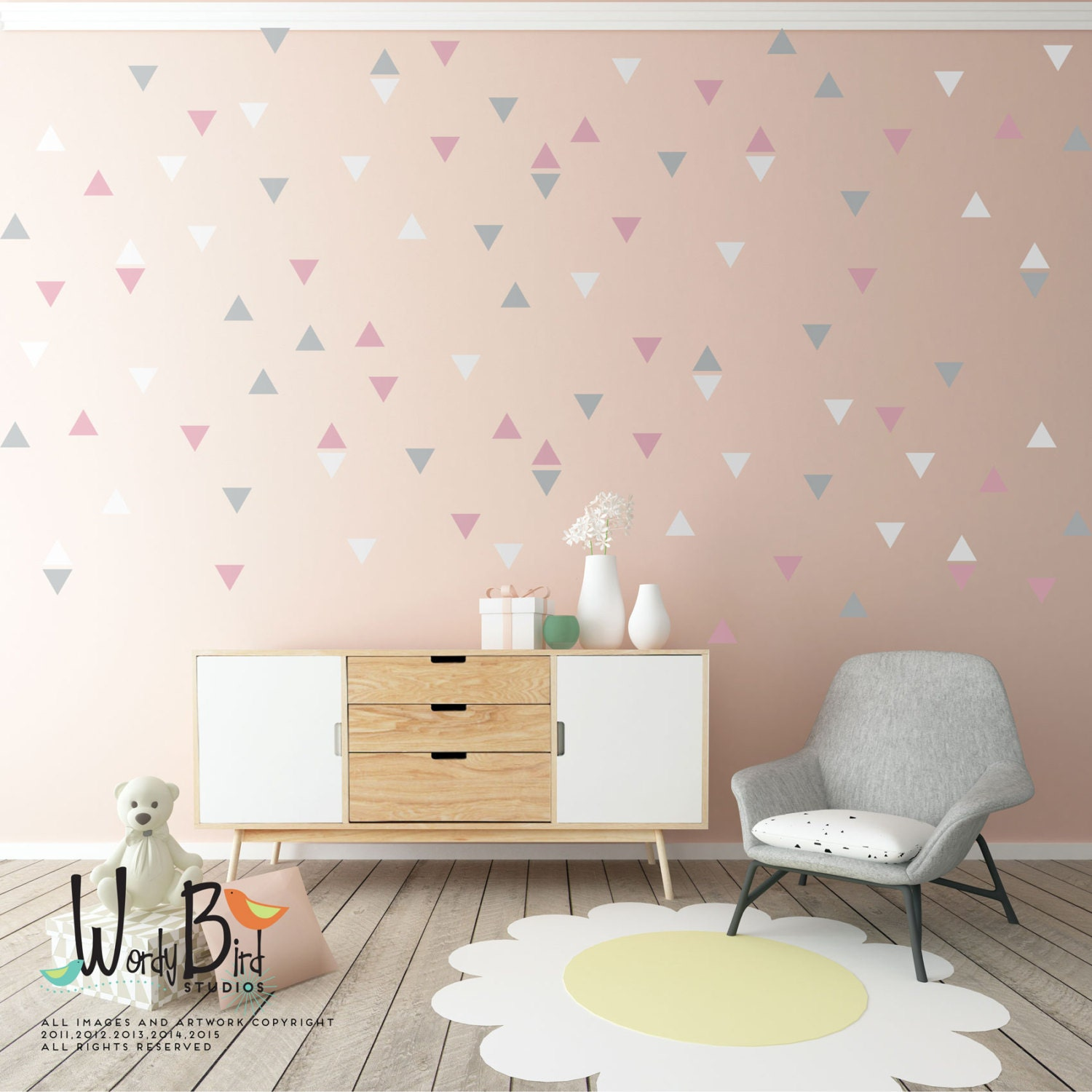 Gold stars wall decals set peel and stick baby nursery wall gold triangle wall decals pink and gold confetti wall decals gold triangle wall shapes amipublicfo Gallery