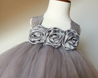 Gray Flower Girl Satin Lace Tutu Dress, Chiffon Ballerina Rhinestone Flower, Flower Girl Dress