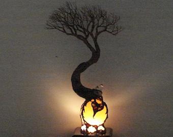 Selenite Moon Sphere Lamp, wire Tree Of Life, Soul Mate sculpture, Heart, Quartz Crystal, Wedding present, Anniversary gift, original art 15