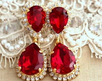 Ruby Chandelier earrings, Red Ruby earrings, Bridal Ruby chandelier dangle earrings, Bridal Ruby earrings, Swarovski  Chandelier earrings.