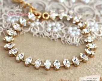 Crystal Swarovski bracelet, Crystal Tennis Bracelet, Dainty Crystal bracelet. Bridal Bracelet, Bridesmaid bracelets - Gold plate Bracelet
