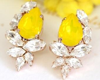Buttercup Earrings, Yellow Swarovski Cluster Earrings, Bridal Buttercup Earrings, Bridesmaids Earrings, ellow Crystal Earrings, Gift for her