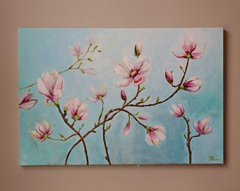 magnolia origina painting,Acrylic Painting,flower painting,art painting, canvas art, wall decor,Light Blue,pink,blossoms ,blossoming