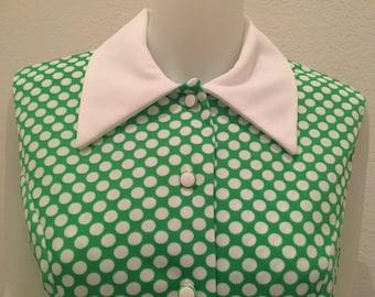 Vintage Green & White Polka Dot 60's Day Dress  L